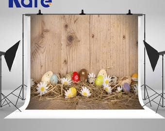 Hay Wood Walls Photography Backdrops Colorful Eggs Photo Backgrounds for Easter Studio Props ZJ-FHJ-023