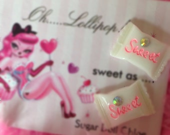 Oh lollipop pink white sweet candy doll earrings