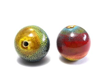 2 pc Multicolour Round Porcelain Beads, Large Round Hand painted Ceramic Beads 19 mm
