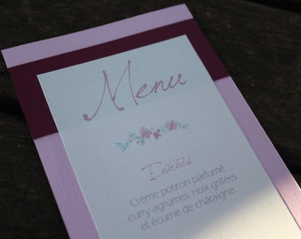Menu variety: Orchid wedding |