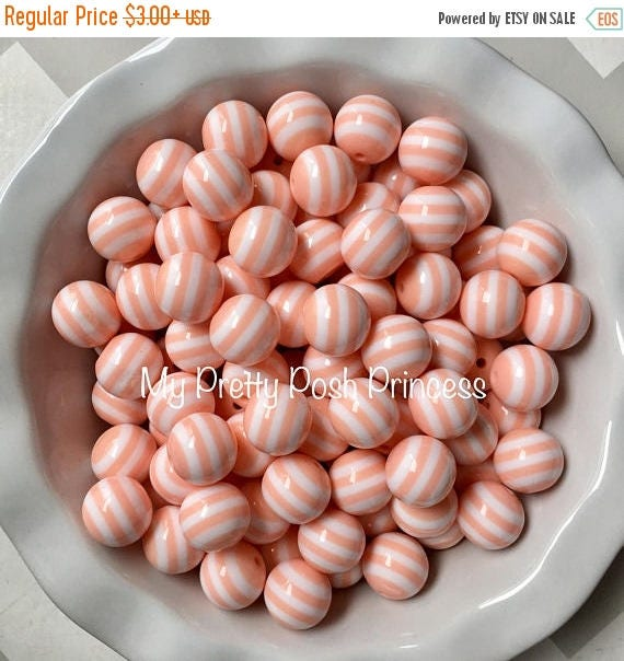 MEMORIAL SALE 20mm Light Mint Coral Striped Chunky Bubble Gum Beads Set of 10
