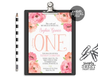 Flower Girl First Birthday Party Invite Invitation 1st 1 One Flower Floral Pink Peach Coral Whimsical Cute Sweet Fun Pretty Garden Country