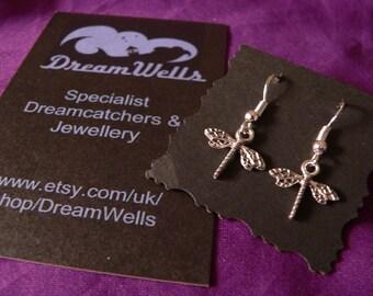 Dragonfly Earrings, 925 Silver Ear Wires