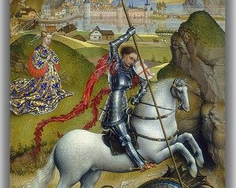 Rogier van der Weyden: Saint George and the Dragon. Fine Art Canvas. (04170)