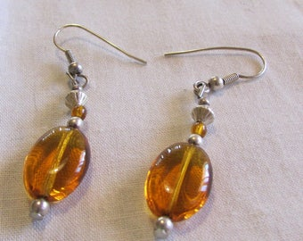 Sterling Silver and Amber Bead Earrings (J)
