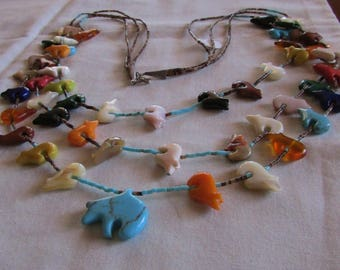 Colorful Three Strand Bear Fetish Necklace