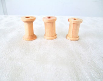 Unfinished Wooden Thread Spools Set Of 3, Small Wood Thread Spools Set Of 3, Wooden Craft Thread Spools, Wood Spools Set Of 3