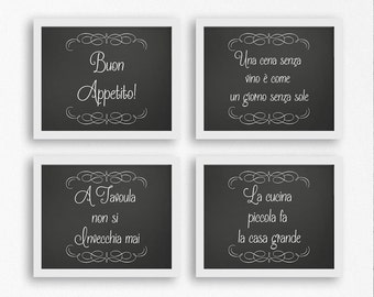 Italian wall art, kitchen decor, wall hangings, Italian wall decor, Italian kitchen, Italian sayings, chalkboard art