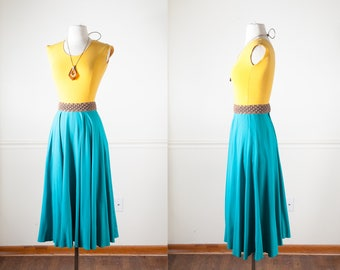 Teal Blue Midi Skirt, Full Sweep Circle Skirt, 80s Skirt, High Waist Skirt, 50s Style Skirt, 80s Does 50s Skirt, Blue Skirt, Full Skirt