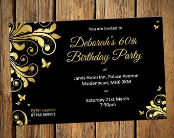 60th Birthday Personalised Party Invitations Gold Leaf