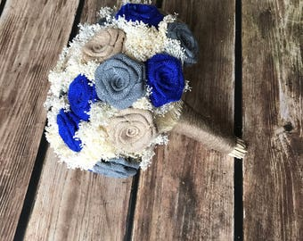 Burlap Bridal Bouquet in Electric Blue, Charcoal Gray, and Natural - Burlap Wedding Bouquets, Burlap Bouquets, Rustic Bouquets, Bouquets