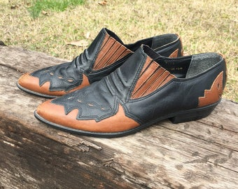 Black and Brown Leather Western Ankle Boots - Vintage 1980s Cowboy Booties - Two Tone Western Boots - Women Size 7.5 - Mootsies Tootsies