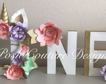 Unicorn Floral Letters ©/ Unicorn Letters/ Unicorn Photo Prop/ Unicorn First Birthday/ Unicorn Baby Shower/ Unicorn Nursery