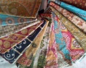10pc kantha Sari Scarf Quilted reversible Indian Stole Silk Sari Shawl Scarves