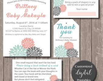 Dahlia Flowers Invitation - Download