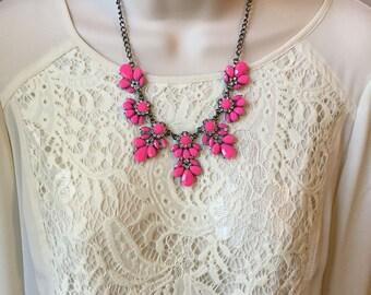 Fuchsia Hot Pink Crystal Sparkle Chandelier Vintage Style  Statement Necklace