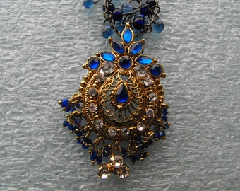 Blue Kundan Rhinestone Medallion Necklace