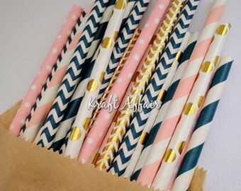25 Mixed Pack of Gold Foil, Navy & Pink Straws - Birthdays, Weddings, Babyshowers, Parties, Events