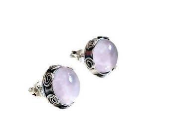 Silver stud earrings, Rose quartz Earrings, silver studs, April Birthstone Earrings, Rose quartz jewelry, Gemstone Studs ,gift to her