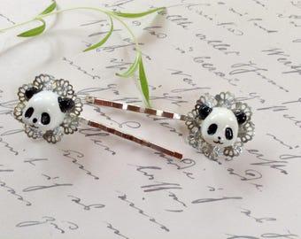 Clips Black And White Panda Bear Bobby Pins