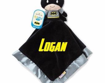 BATMAN Lovey Snuggle Blankey Security Baby Blanket lovey - Monogrammed