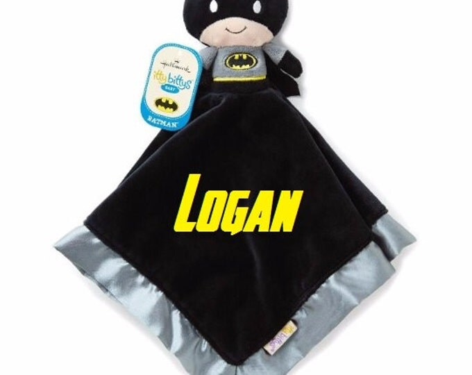 BATMAN Lovey Snuggle Blankey Security Baby Blanket lovey - Monogrammed