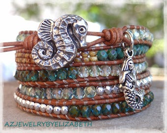 Beaded Leather Wrap/ Mermaid Leather Wrap Bracelet/ Seed Bead Leather Wrap Bracelet/ Seahorse Bracelet/Sea Leather Bracelet/Beach Bracelet.