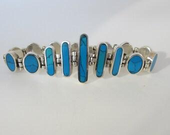 Sterling Silver Imitation Turquoise Bracelet, Turquoise Like Bracelet, Blue Stone