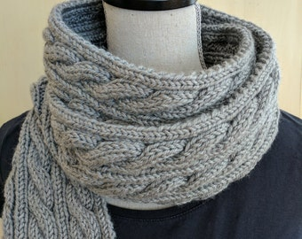 Grey Hand Knit Cable Scarf / Knit Scarf / Gray Scarf / Cabled Scarf