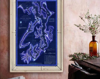 "Map of Puget Sound 1867, Vintage Puget Sound map, 3 sizes up to 24x36"" Old nautical chart poster, also in blue - Limited Edition of 100"