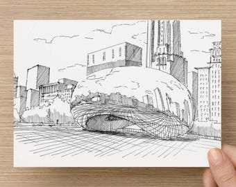 Ink Sketch of Cloud Gate (The Bean) in Chicago, Illinois - Drawing, Pen and Ink, Art, Print, 5x7, 8x10, Sculpture, City, Skyline, Skyscraper