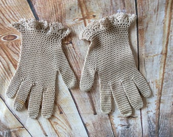 Vintage Children's Crochet Gloves Beige Cotton Mesh c 1920s -30s