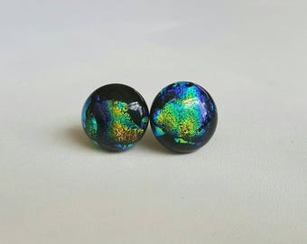 Dichroic glass fused earring studs stainless surgical steel posts hypoallergenic black/green/blue/gold