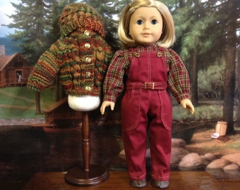 American Girl Burgundy Overall and Sweater Set