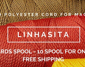 Waxed polyester cord for macrame. Linhasita. 10 cones (each cone: 196 yards). FREE SHIPPING