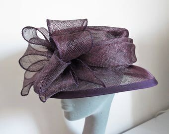 Ladies Dress Hat in Dark Plum Sisal with LArge bow front By Shaw Millinery