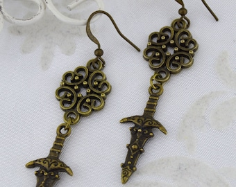 The Huntress - Medieval Dagger or Sword Earrings