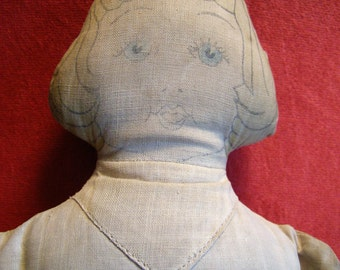 Antique Stuffed Home Made Doll with Printed Features