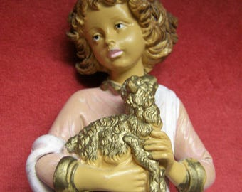 Made in Italy Handpainted Hanging or Standing Angel Holding Lamb Figurine-EuroMarchi Italy
