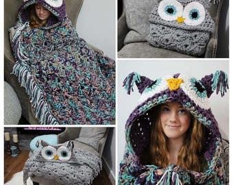 Owl hoodie blanket
