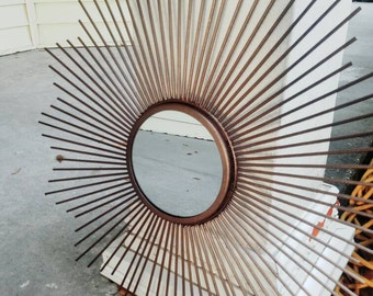On Sale Starburst Mirror / Retro / Atomic / Mid Century Modern Decor / Gold and oil rub bronze/ Mirror/ Sunburst/ MCM/Vintage