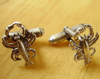 One Pair Sterling Silver Lobster Cufflinks In Presentation Box