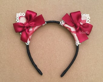 Scarlett | Cat Ears / Nekomimi Headband with Bow