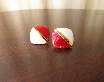 Vintage Bergere Post Earrings; Red, White, and Gold; enamel on brass; 1970s; marked