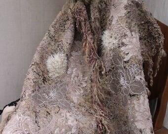 COCOA FOAM SHAWL. shawl, scarf. Unique, artsy, subtle,handmade , ready to ship