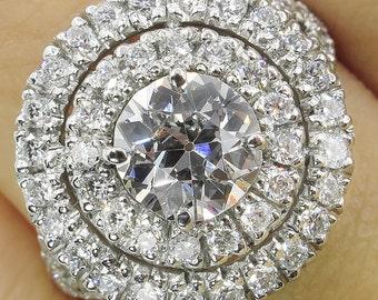 1.79ct Estate Vintage Old European Diamond Engagement Wedding Platinum Ring EGL USA