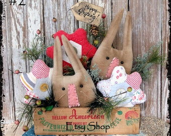 Handmade Primitive Bunny Heads & Quilt Flowers In Old Cheese Box Spring Easter Decor