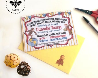 Curious George Baby Shower Invitations with Matching Envelopes / Classic Story Book Baby Shower Invites with Envelopes
