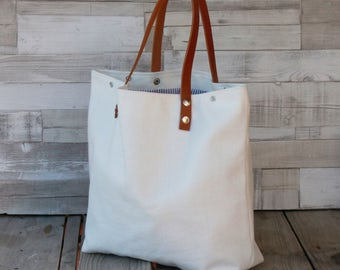 Maxibag - Shopping bag - White - Shoulder Maxi bag, handmade in canvas, with removable leather straps