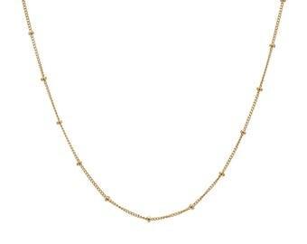 14k gold chain link segment necklace